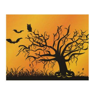 Impression Sur Bois Conception de Halloween avec les battes, l'arbre