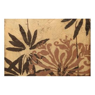 Impression Sur Bois Conception florale de pochoir avec le feuille