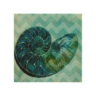Impression Sur Bois Conque en spirale Shell de turquoise