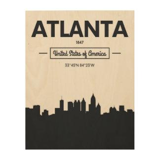 Impression Sur Bois Coordonnées de ville d'Atlanta, la Géorgie  