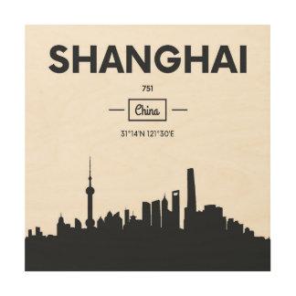 Impression Sur Bois Coordonnées de ville de Changhaï, Chine |