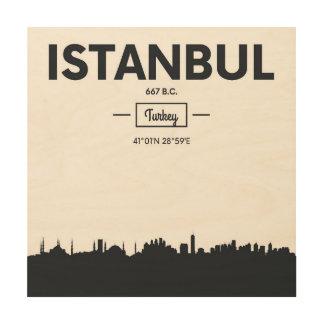 Impression Sur Bois Coordonnées de ville d'Istanbul, Turquie  