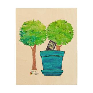Impression Sur Bois Copie croissante d'art d'arbres d'argent sur le
