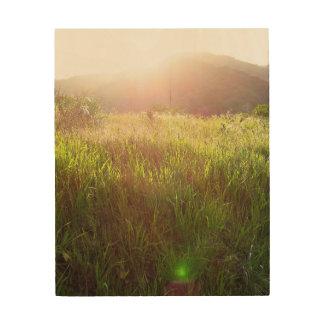 Impression Sur Bois Copie de bois de graveur de coucher du soleil de