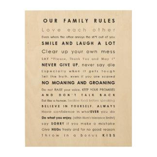 Impression Sur Bois Copie en bois de règles de famille