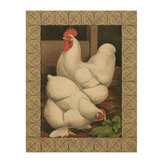 Impression Sur Bois Coqs et poule en dehors de Chambre de poule avec