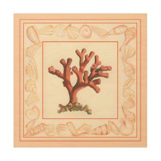 Impression Sur Bois Corail rouge avec la frontière de Shell de conque