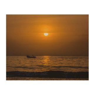 Impression Sur Bois Coucher du soleil à la plage de paradis, la carte