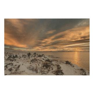 Impression Sur Bois Coucher du soleil au-dessus de lac Myvatn, Islande