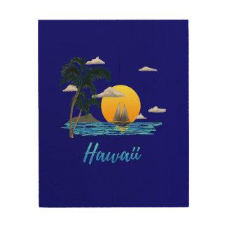 Impression Sur Bois Coucher du soleil de plage d'Hawaï
