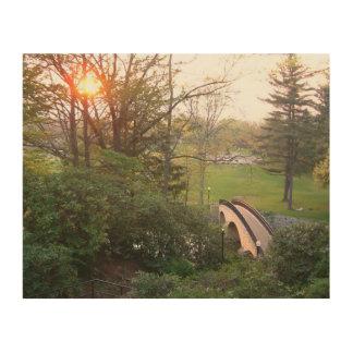 Impression Sur Bois Coucher du soleil de pont en arc-en-ciel à