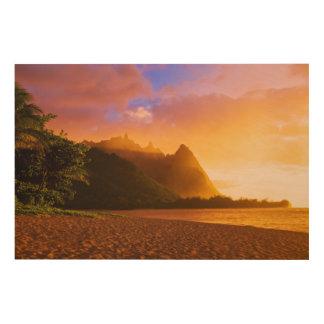 Impression Sur Bois Coucher du soleil d'or de plage, Hawaï