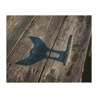 Impression Sur Bois Crampon de dock de queue de poissons sur le bois