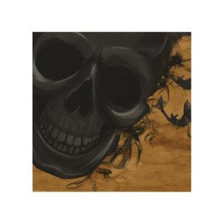 Impression Sur Bois Crâne de sourire noir entouré par les battes et la