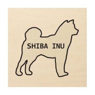 Impression Sur Bois Crème nommée de silhouette de Shiba Inu