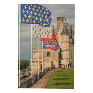 Impression Sur Bois d'Amboise de château et drapeau, France