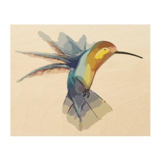 Impression Sur Bois dessin paisible d'aquarelle de colibri beau