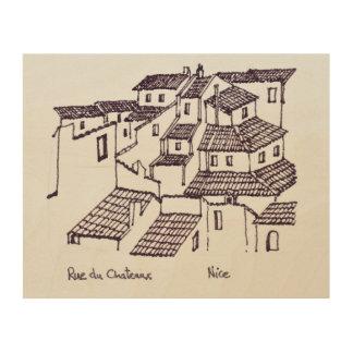 Impression Sur Bois Dessus de toit de Rue de Chateaux | Nice, France