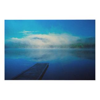 Impression Sur Bois Dock sur le lac brumeux calme, la Californie