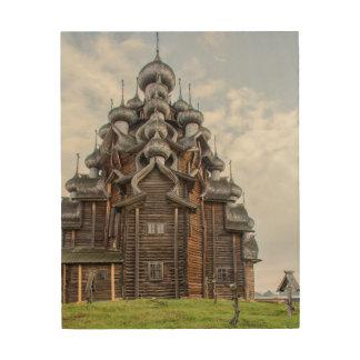 Impression Sur Bois Église en bois fleurie, Russie