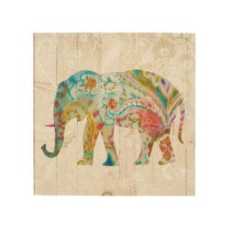 Impression Sur Bois Éléphant de Boho Paisley II
