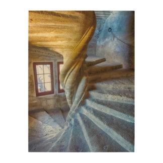 Impression Sur Bois Escalier en spirale de château, France