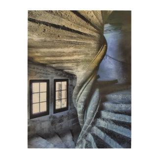Impression Sur Bois Escalier en spirale tordu, France