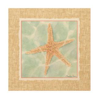 Impression Sur Bois Étoiles de mer nautiques dans l'eau