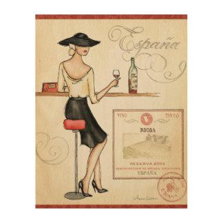Impression Sur Bois Fashionista de vin