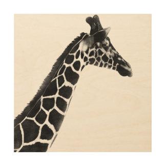 Impression Sur Bois Faune de girafe de régions boisées de la savane