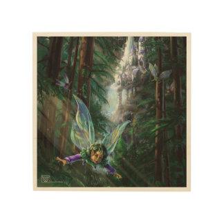 Impression Sur Bois Fées de région boisée et château de cascade