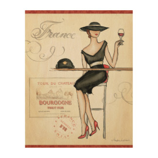 Impression Sur Bois Femme française buvant du vin rouge