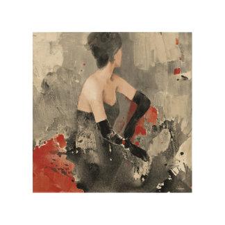 Impression Sur Bois Femme vintage sauvage d'aquarelle d'Apple |