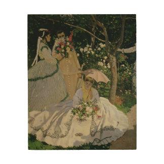 Impression Sur Bois Femmes de Claude Monet | dans le jardin