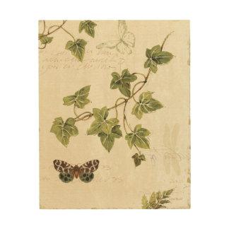 Impression Sur Bois Feuille et un papillon