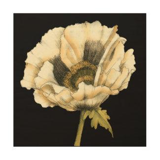 Impression Sur Bois Fleur crème de pavot sur l'arrière - plan noir