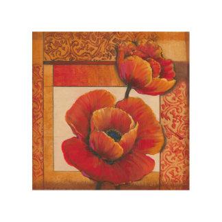 Impression Sur Bois Fleurs de pavot sur l'arrière - plan bronzage et