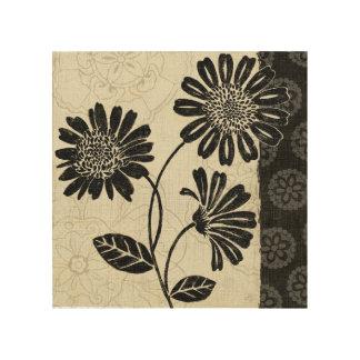 Impression Sur Bois Fleurs noires et blanches 2