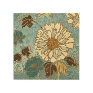 Impression Sur Bois Floral décoratif dans bleu et blanc