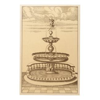 Impression Sur Bois Fontaine de cour avec l'ange ornemental