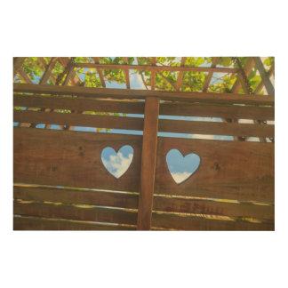 Impression Sur Bois Forme de coeur dans une barrière, Belize