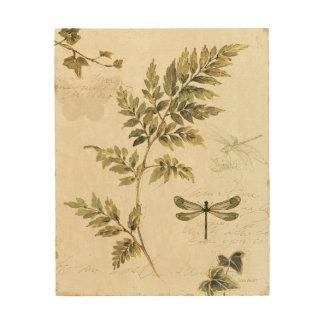 Impression Sur Bois Fougères décoratives et une libellule