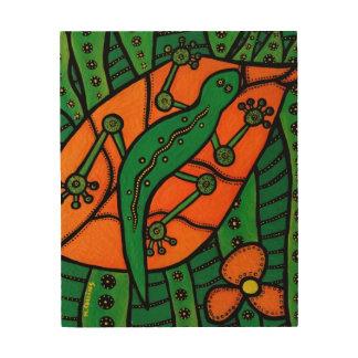 Impression Sur Bois Gecko orange de lézard vert