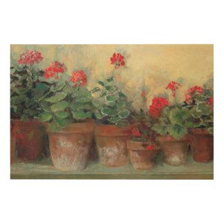 Impression Sur Bois Géraniums dans des pots