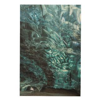 Impression Sur Bois Glace bleue d'une caverne de glace, Islande