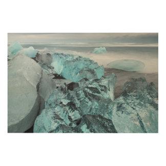 Impression Sur Bois Glace bleue sur le paysage marin de plage, Islande