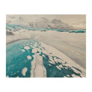 Impression Sur Bois Glace congelée de glacier, Islande