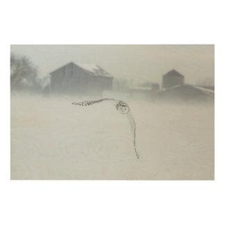 Impression Sur Bois Hibou de Milou en vol en hiver