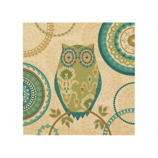 Impression Sur Bois Hibou décoratif avec des conceptions circulaires