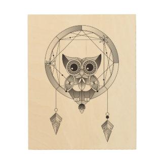 Impression Sur Bois Hibou noir et blanc dans l'art en bois de